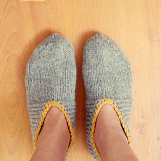 7aea617addb Do-Lit-Yourself: Cozy Up with Knit Slippers (+ a bonus book wrap ...